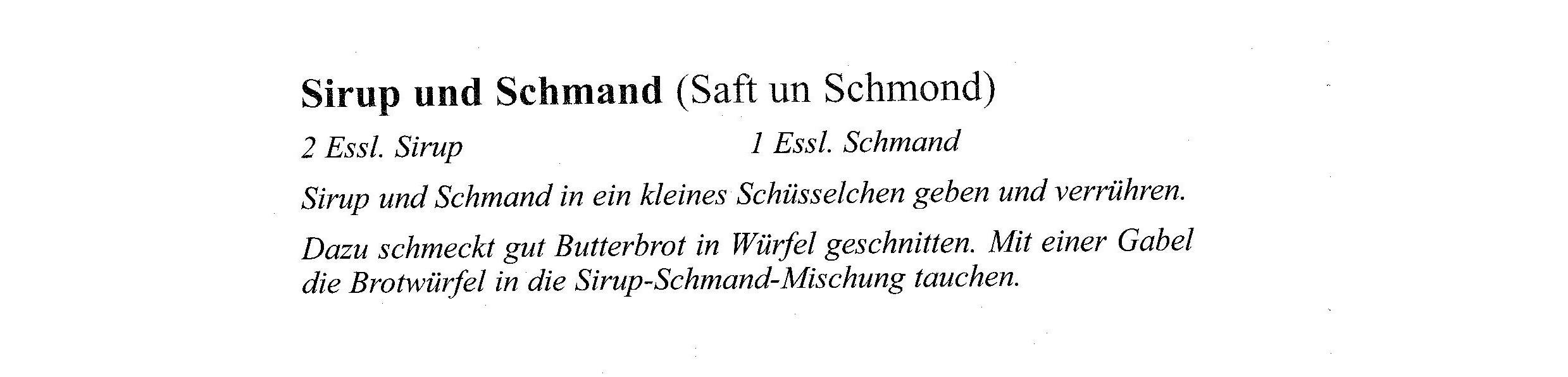 Rezept März Sirup und Schmand