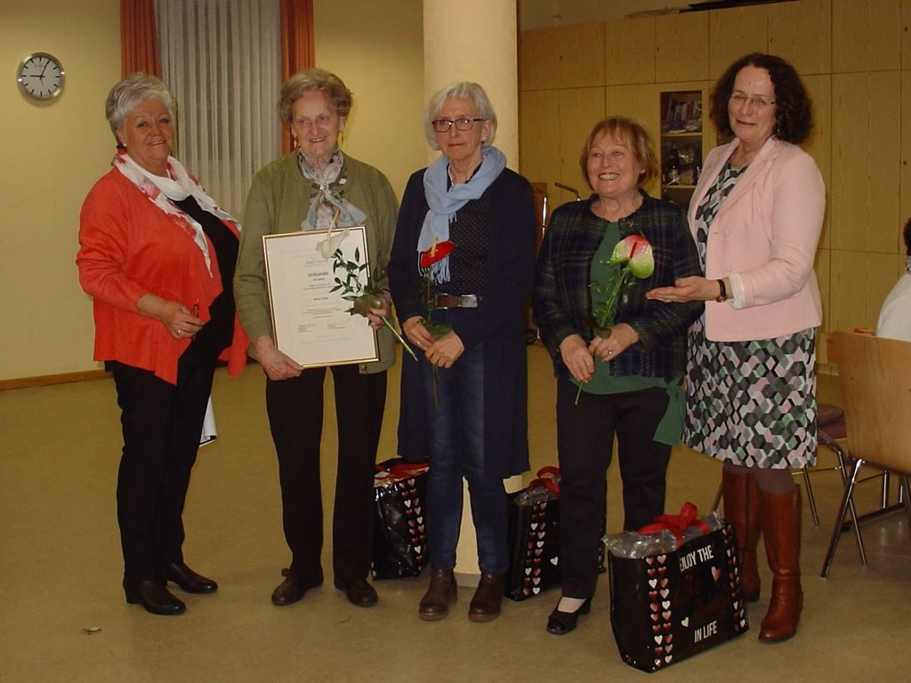 v.l. Renate Ehrhardt, Anni Euler, Ursula Haaß, Inge Riffer-Frank, HildegardSchuster